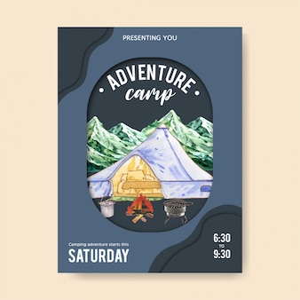 Camping poster  with tent, car, pot and grill stove illustrations