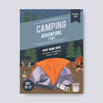 Camping poster  with tent, van, lantern and grill stove  illustrations