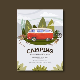 Camping poster with van illustration