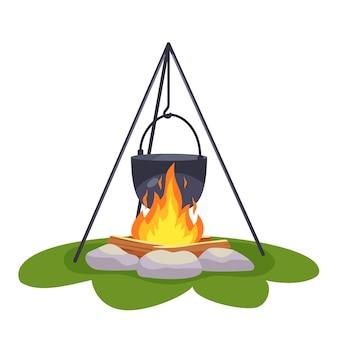 모닥불 위의 캠핑 냄비