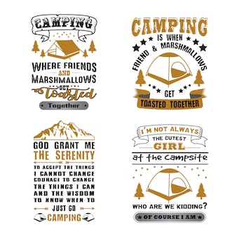 Camping quote and saying set