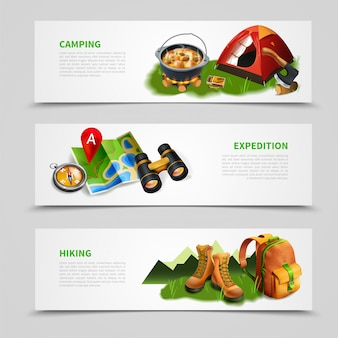 Camping realistic banner set Free Vector