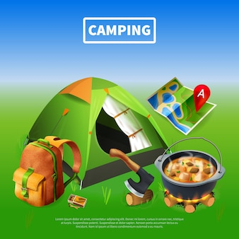 Camping realistic colored template