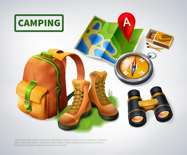 Camping realistic composition template