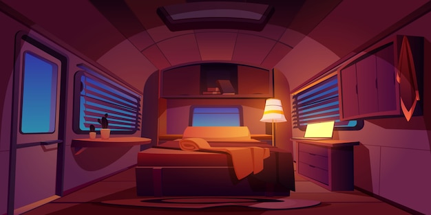 Camping rv trailer car interior with bed at night