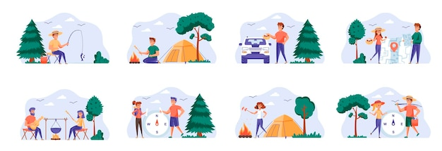 인물 캐릭터가 포함 된 캠핑 장면 번들
