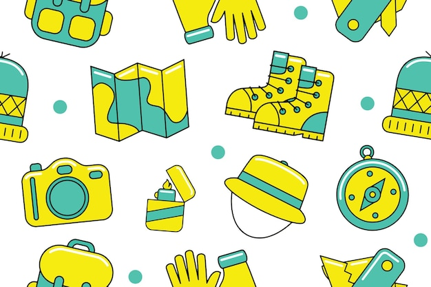 Camping seamless pattern in flat design style