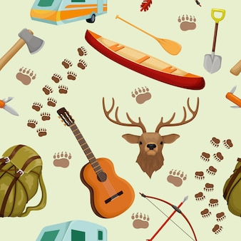 Camping seamless pattern with elements of camp and hiking tourism and forest animals vector illustration