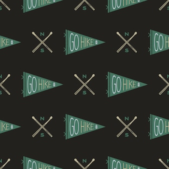 Camping seamless pattern with hiking pennants and badge. go hike text. wanderlust travel wallpaper background. stock