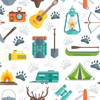 キャンプのシームレスパターン
