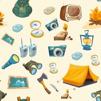 Camping seamless pattern
