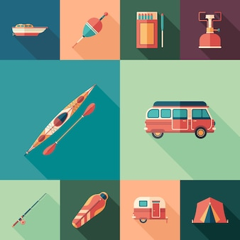 Camping set of flat square icons with long shadows.