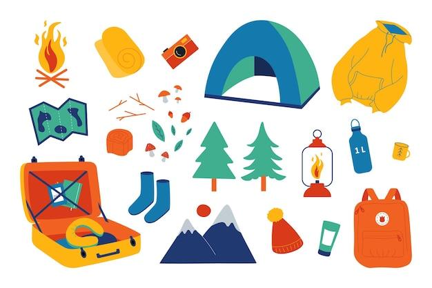 캠핑 세트입니다. 야외 레크리에이션, 자연 탐험 하이킹 및 탐험. 야외 하이킹에 지도, 텐트 및 모닥불 요소 모험으로 설정된 벡터 모험