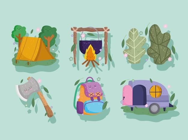 Кемпинг, палатка, костер, топор, сумка и кемпер в мультяшном стиле