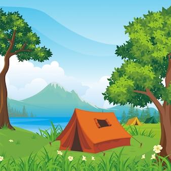 캠핑 사이트 풍경 그림