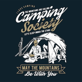 Camping society in the mountains vector