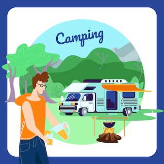 Camping square banner, young man pouring orange juice to glass on summer camp