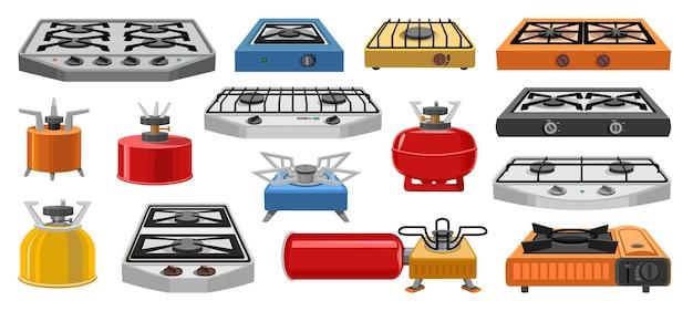 キャンプストーブベクトル漫画アイコンセット。コレクションベクトルイラスト炉は白い背景で移動します。webデザインのキャンプストーブの孤立した漫画イラストアイコンセット。