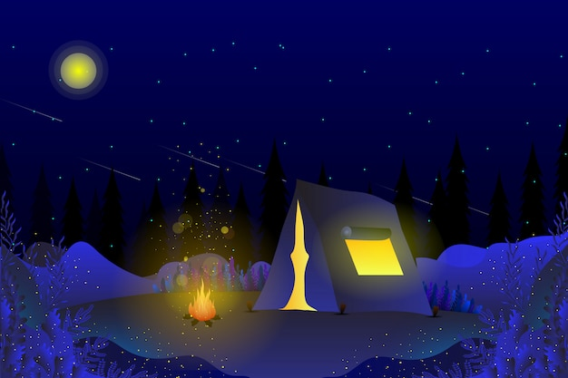 Camping in summer night blue sky background