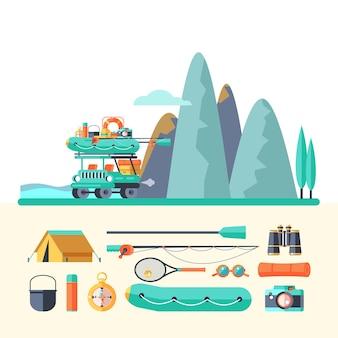 Camping. summer outdoor recreation. vector illustration.
