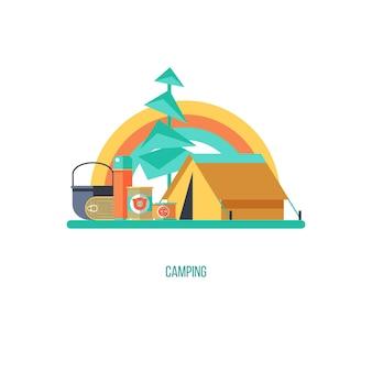 キャンプ。夏のアウトドアレクリエーション。ベクトルイラスト。