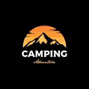 Camping at sunset logo