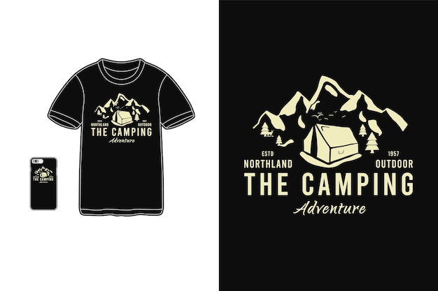 The camping, t-shirt merchandise silhouette mockup