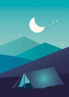 Camping tent in aventure night landscape scene vector illustration design