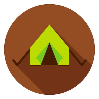 キャンプテントサークルアイコン。長い影とフラットなデザインのベクトルイラスト。