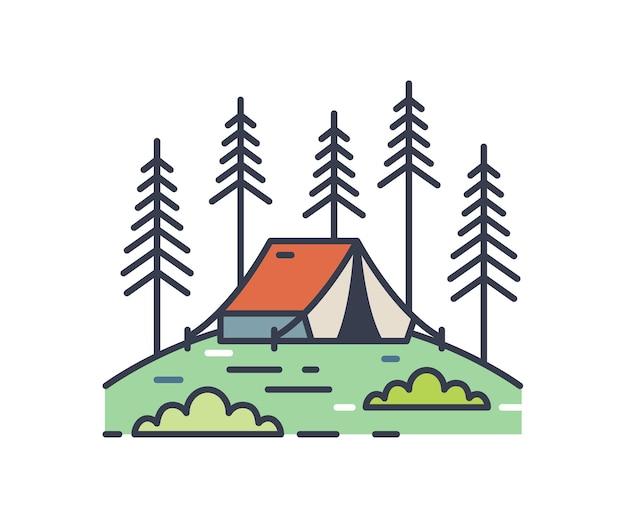 소나무 숲 개요 그림에서 캠핑 텐트입니다. 다채로운 컨투어 캠프장 로고 흰색 배경에 고립입니다. 숲에서 비비가 있는 선형 휴가 풍경. 간단한 벡터 개요 기호입니다.