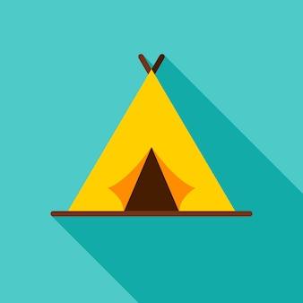 キャンプテントオブジェクトアイコン。長い影とフラットなデザインのベクトルイラスト。