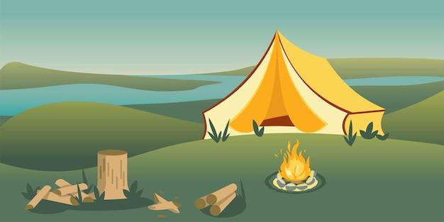 丘の上のキャンプテント、川の朝の景色。