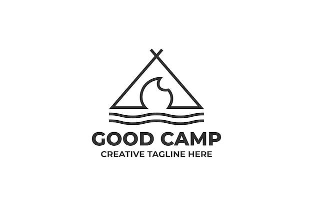 キャンプテントアウトドアアドベンチャービジネスロゴ