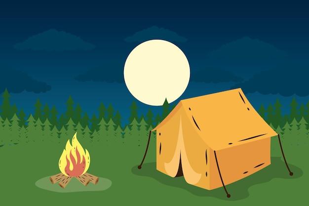 Палатка для кемпинга с костром на ночной сцене