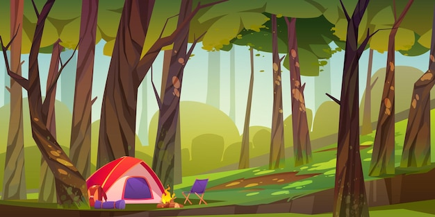 Camping tent with campfire and tourist stuff in forest