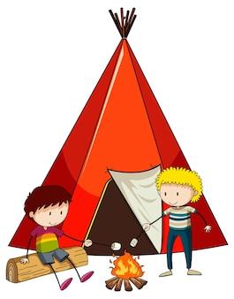 고립 된 낙서 아이 만화 캐릭터와 캠핑 텐트