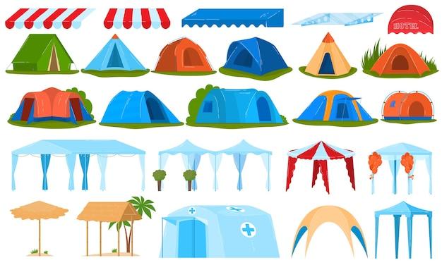 キャンプテント、天蓋、日よけの孤立したイラストのセット。