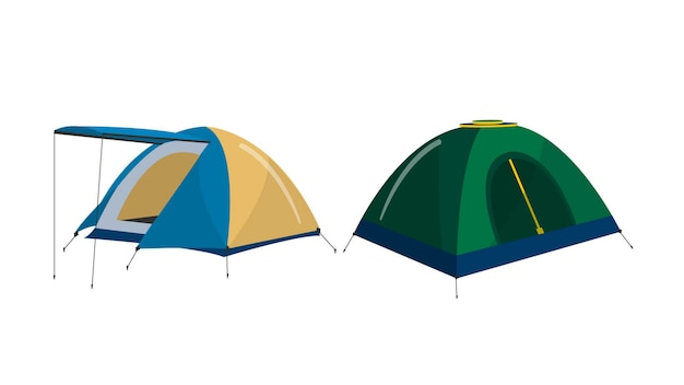Camping tents isolated vector illustration