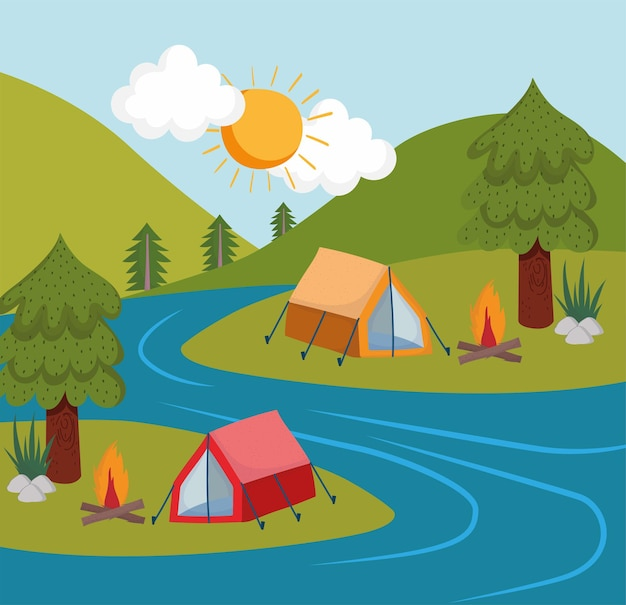 캠핑 텐트 강
