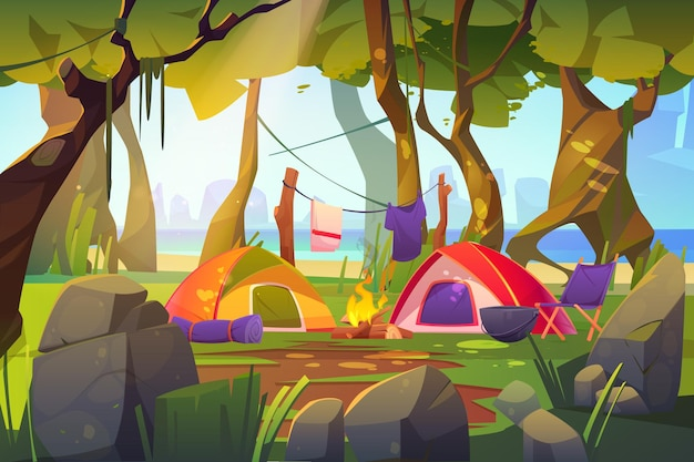 Camping tents with campfire and tourist stuff in forest