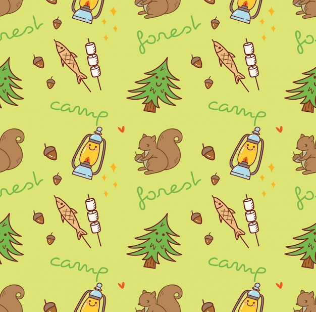 Camping themed seamless background