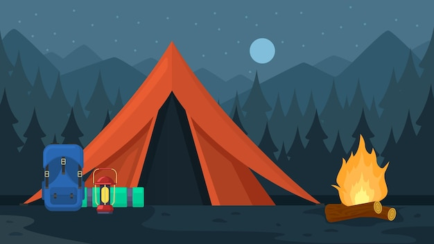 Camping tourist hiking outdoor adventure travel backpacks. tourist hiking trekking backpacks with sleeping bags vector illustration set. outdoor tourist equipment bags on camp near tent for hiking