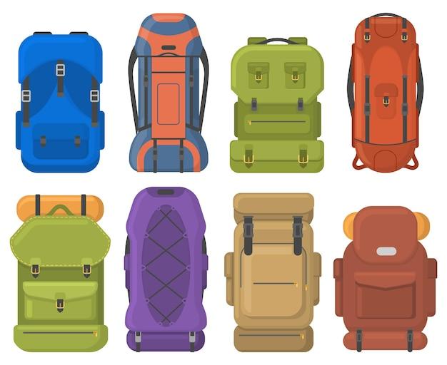 キャンプツーリストハイキングアウトドアアドベンチャートラベルバックパック。寝袋付きツーリストハイキングトレッキングバックパックベクターイラストセット。屋外観光機器バッグ