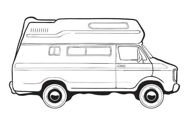 キャンピングトレーラーカー、側面図。黒と白のイラスト。
