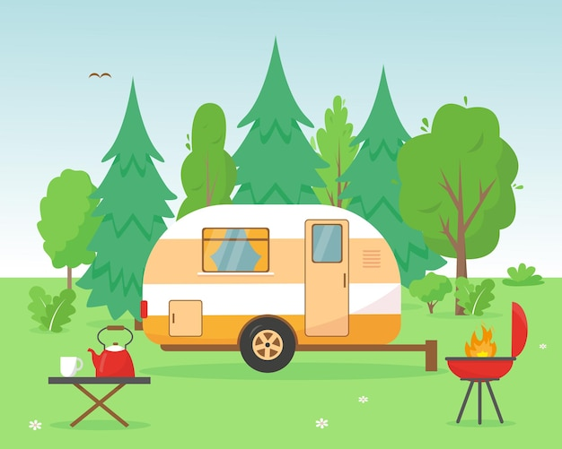 Camping trailer in the forest. travel mobile home