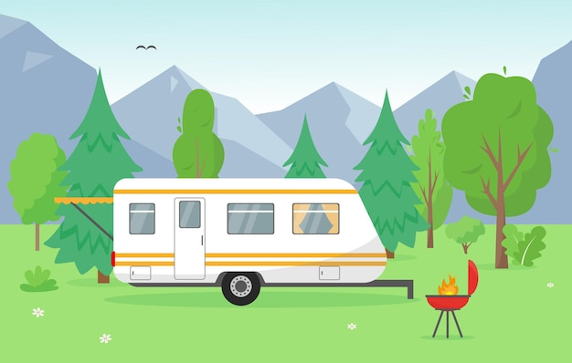 Camping trailer near mountains. summer or spring landscape with travel mobile home and barbecue. background concept illustration.