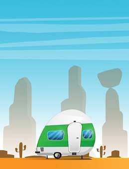 Camping trailer. traveler truck camper.  vacation rv illustration isolated on summer