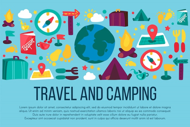 Camping and travel hand drawn banner with copyspace.