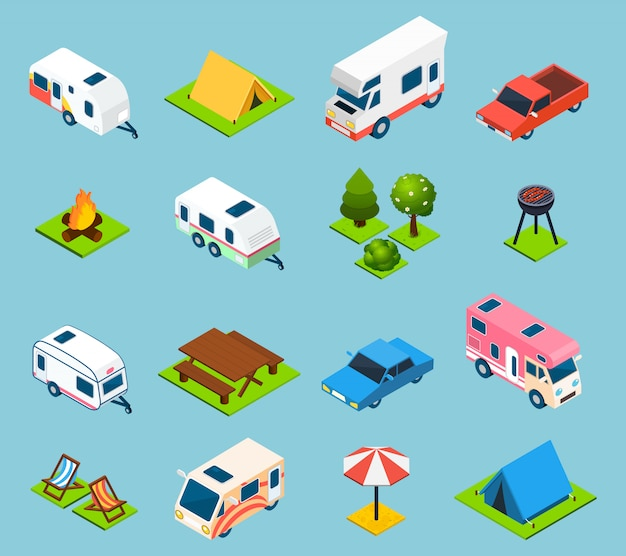 Camping and travel isometric icons set