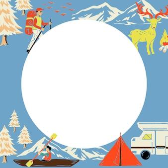 Cornice blu da viaggio in campeggio a forma di cerchio con turista